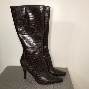 Nine West , Autumn Mink Crocodile boots, size 10